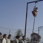 women & girls doing vertical rope during training  hour