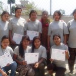 Students taking photo after getting certificates